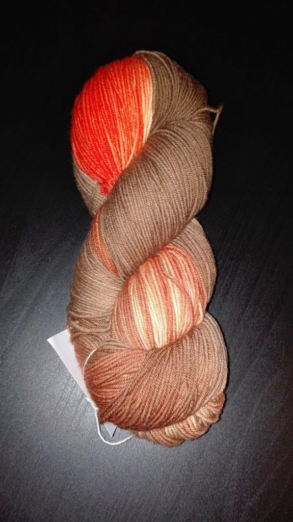 """Ein Bild von der Merinowolle in der Färbung """"Ich schenk dir mein Lebkuchenherz - orange"""""""